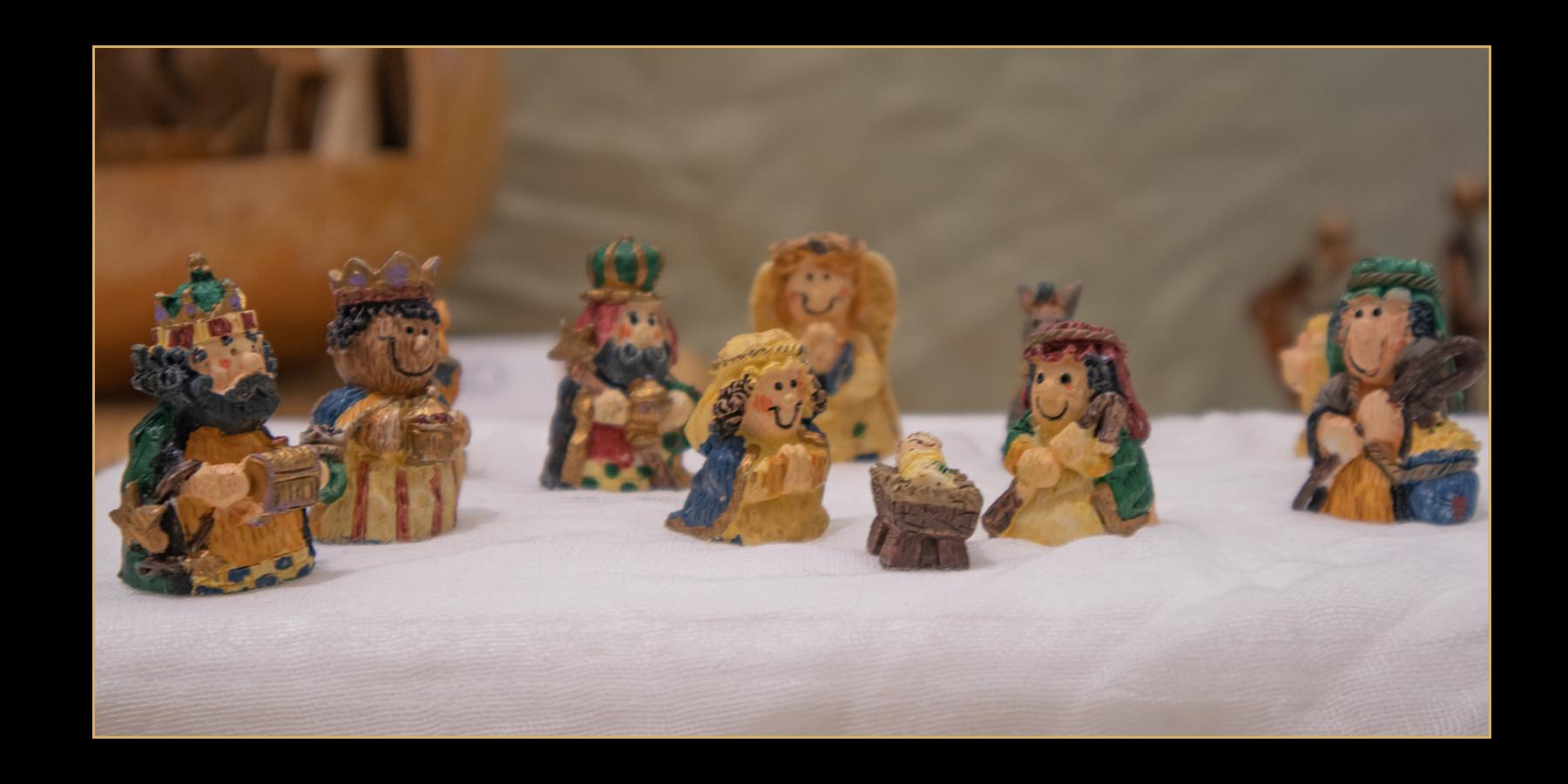 Handpainted Stone Nativity