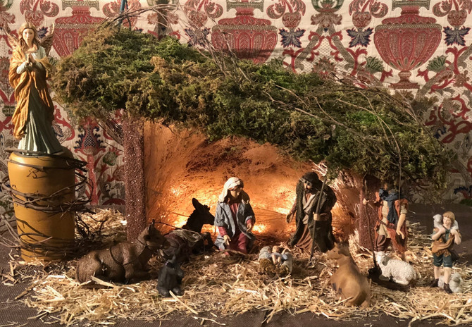 St. Stephen's Creche: Shelter by John Fortman, Figures donated by Mary Mercogliano