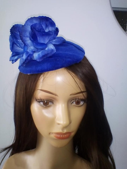 Blue cotton velveteen headpiece