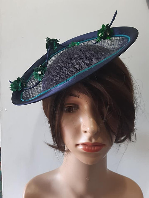Navy and Green Saucer Hat
