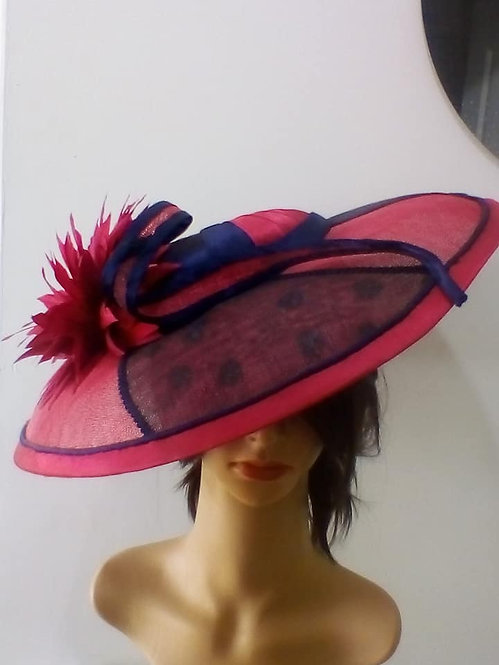 Pink and navy broad brimmed spotty hat