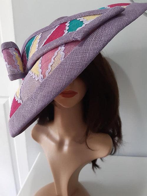Patchwork wide brimmed hat