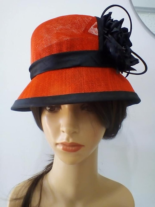 Red cloche with black detail