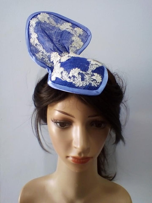 Blue sinamay headpiece with handsewn lace