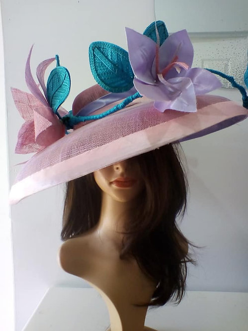 Pink and purple wide brimmed hat