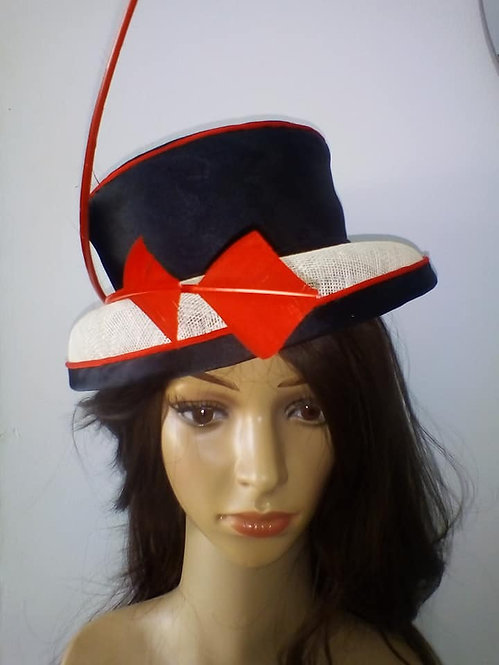 Black and white hat with red detail