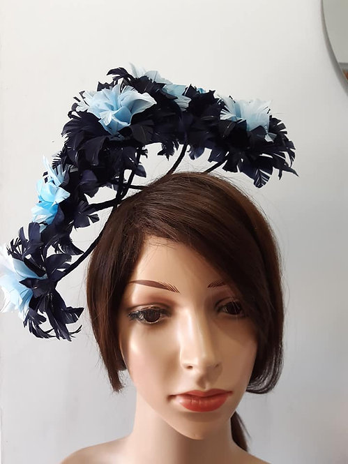 Blue floating floral feather crown