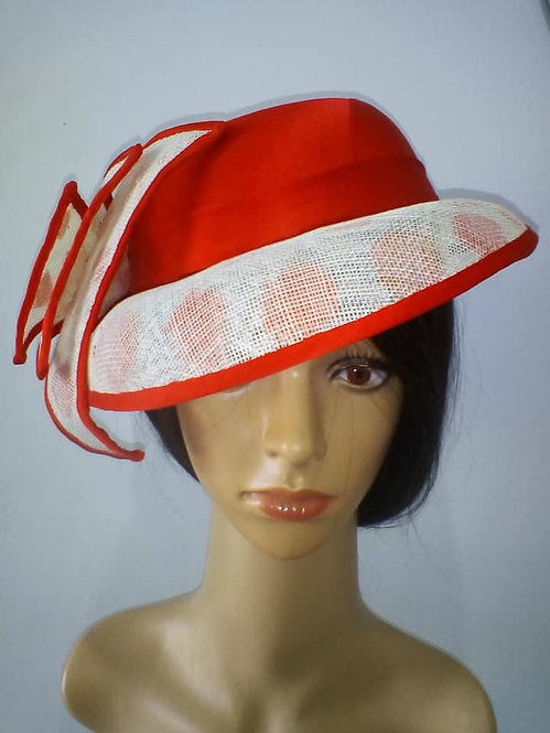 Red and white spotty hat