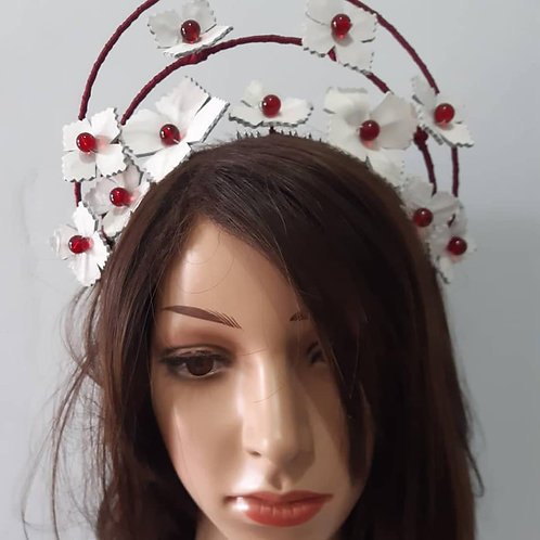 Burgundy and white leather  halo crown