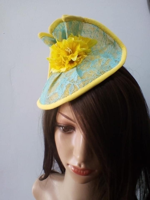 Yellow floral headpiece with aqua lace