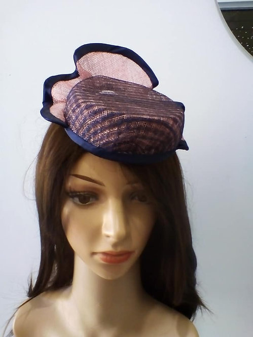 Pink and navy fascinator