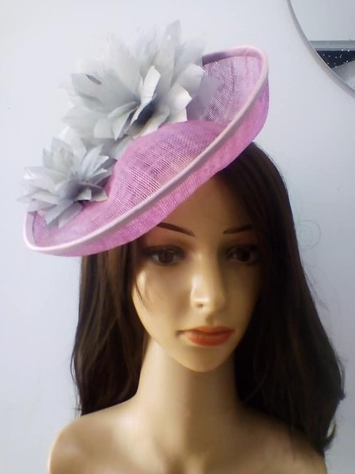 Pink and silver saucer hat