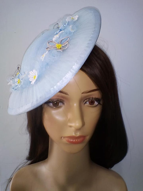 Beautiful blue tulle saucer hat