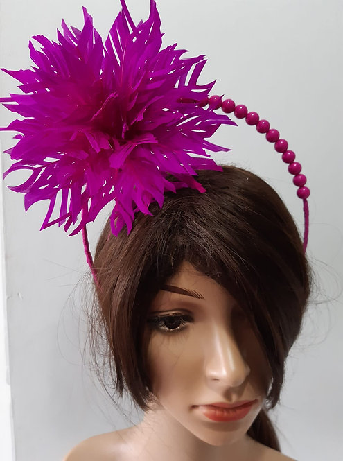 Pink feather and beaded halo headband