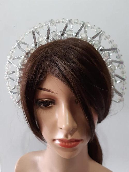 Silver double beaded halo headband