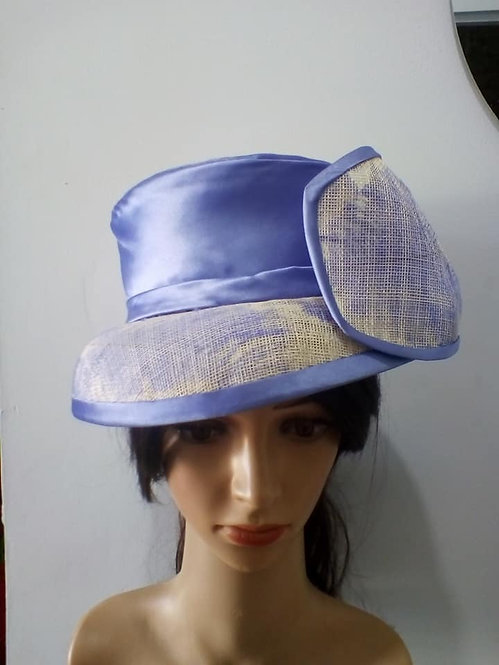 Blue and white hat with feather detail