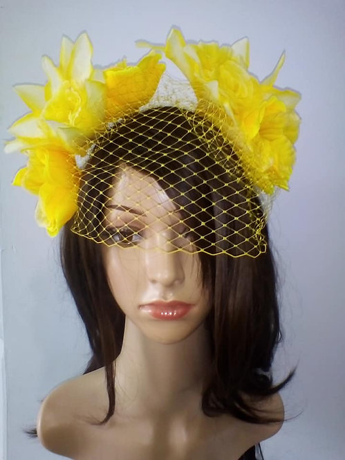 Yellow floral headpiece with veiling