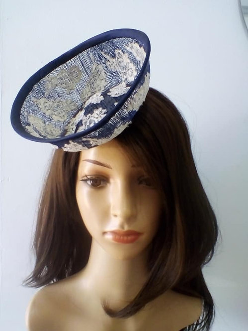 Navy percher hat with white lace detail
