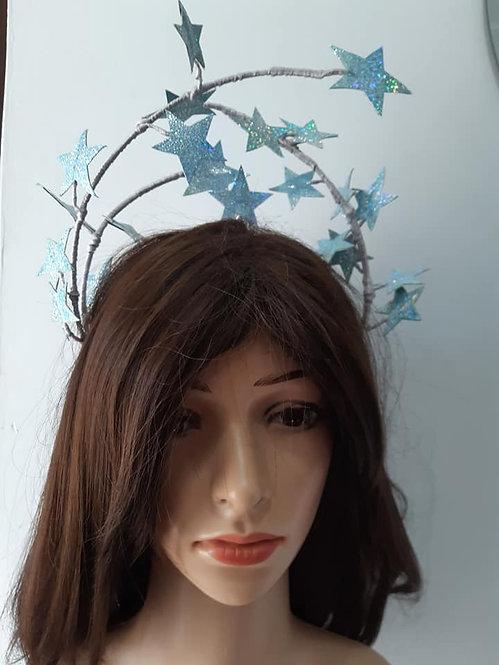Blue pleather floating stars headband