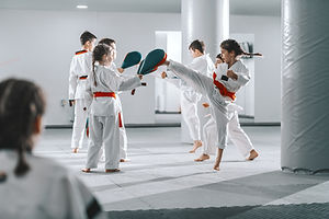 Group of sporty Caucasian children in do