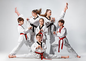 The studio shot of group of kids trainin