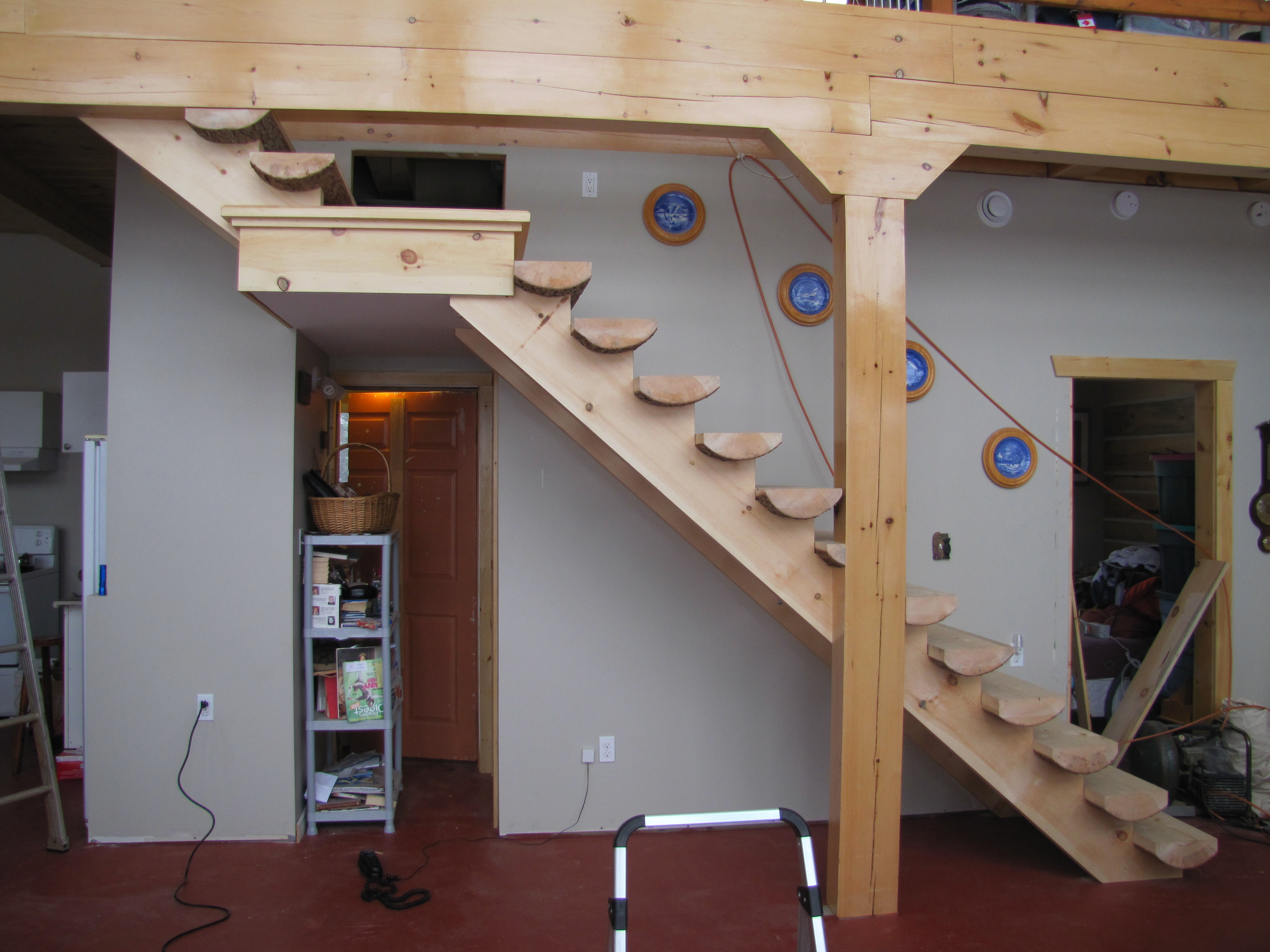 Spruce Half Log Stairs