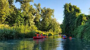 Parcours en canoë kayak à la journée sur la rivière du Rhône entre l'Ain, l'Isère et la Savoie