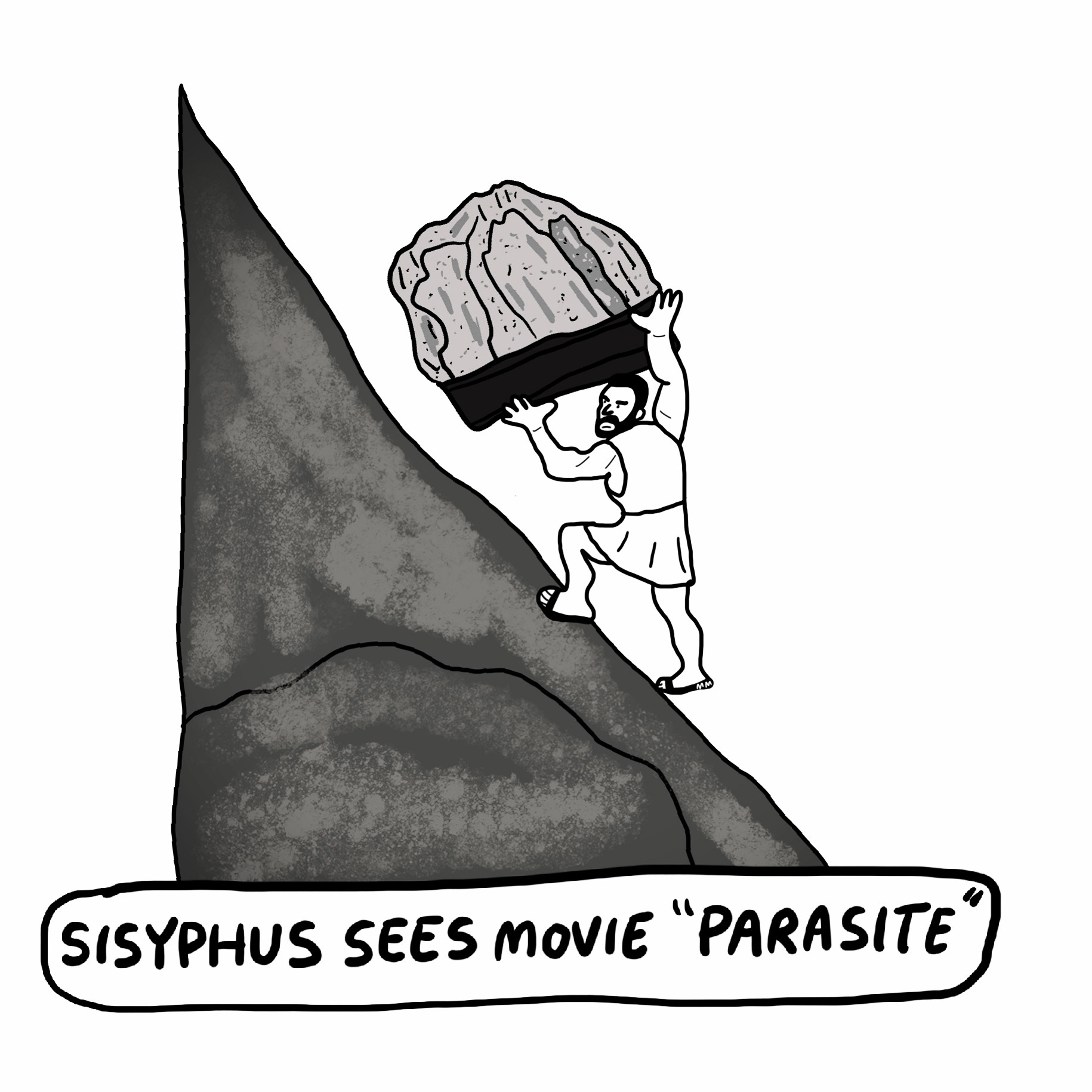 "Sisyphus Sees Movie ""Parasite"""