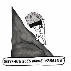 "Sisyphus Sees Movie ""Parasite"""
