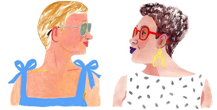 two women -Warby Parker- Rebecca Clarke.