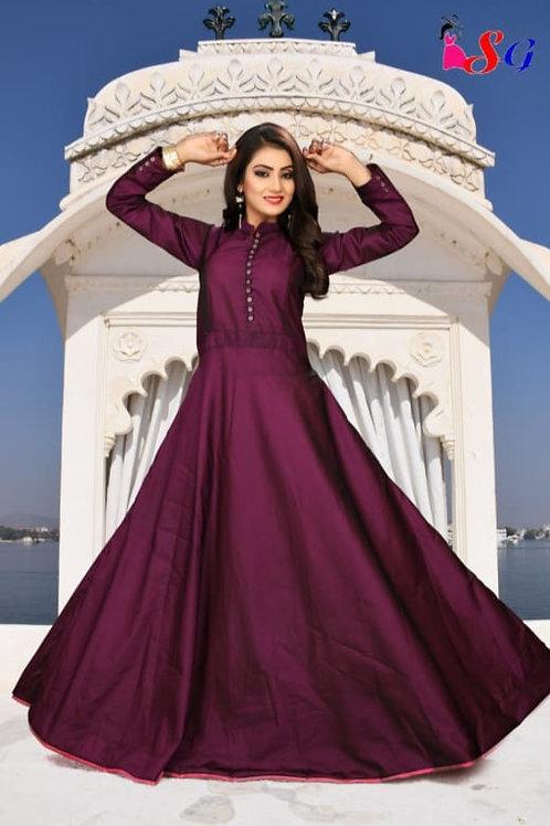AMS Sattin silk full Gown 01
