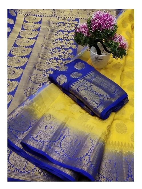 PV_01_Zari woven Banarasi Silk Saree Yellow and Blue