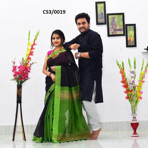Plain Pure cotton kurta With Cotton Saree  Black and Green
