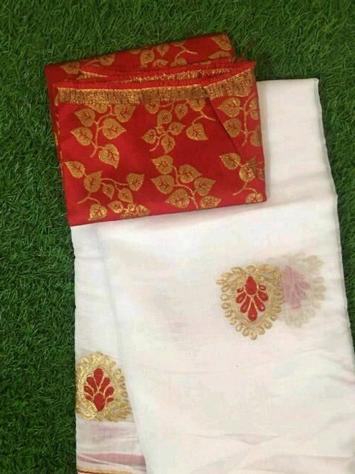 PS Chanderi Cotton Saree White & Red