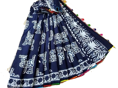 Hand Block Printed Blue Cotton mulmul saree with Pom Pom lace with Blouse
