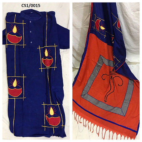 Khadi cotton applique work kurta with Saree  Blue