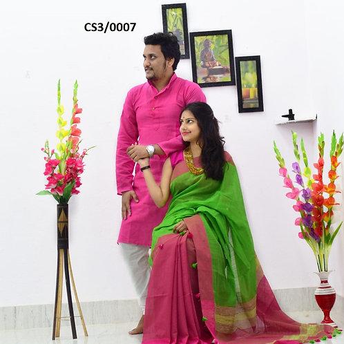Plain Pure cotton kurta With Cotton Saree Pink and Green