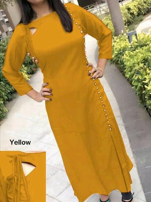 PB Modern Fancy Women Kurti  Yellow