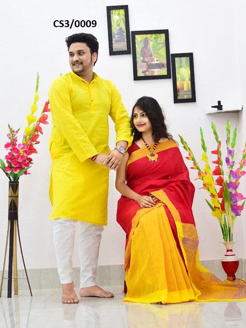 Plain Pure cotton kurta With Cotton Saree Yellow and red