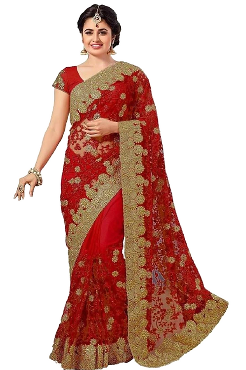 PV_N_6_Net saree with embroidery with Art Silk Blouse Piece Red