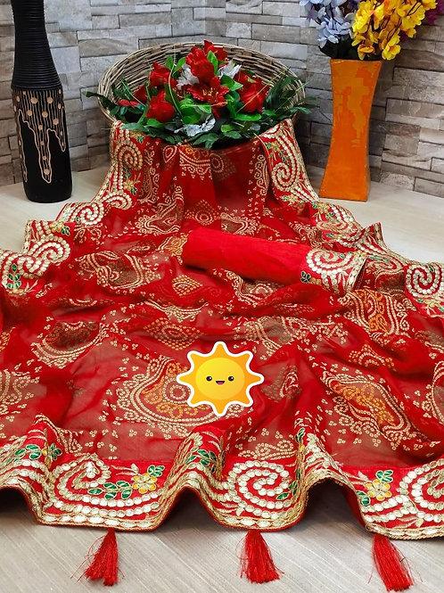 KFS  Gotta Embroidery BorderBandhani saree 01