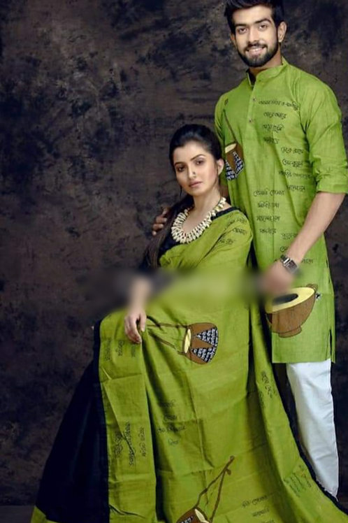 Khadi cotton applique work kurta with Saree    Green and Black