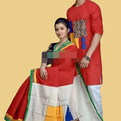 Khadi cotton applique work kurta with Saree  Red and White