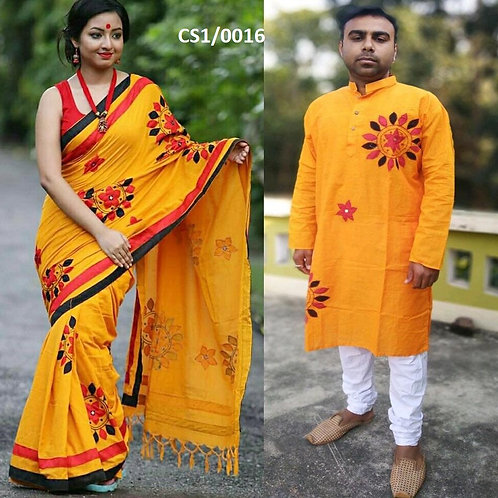 Khadi cotton applique work kurta with Saree Yellow