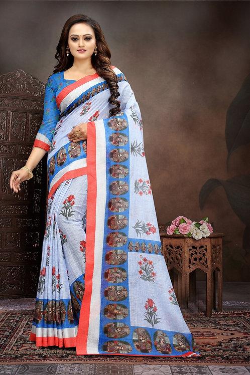 ATLS Printed Sagun Linen saree 01