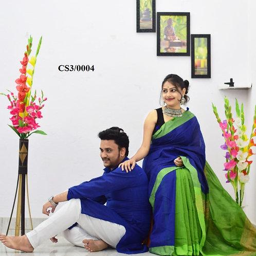 Plain Pure cotton kurta With Cotton Saree Blue and Green