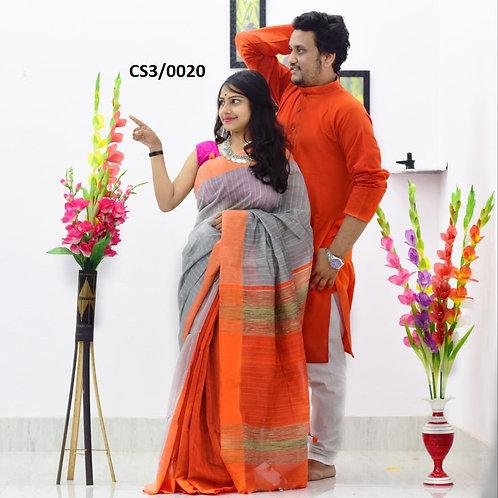 Plain Pure cotton kurta With Cotton Saree   Orange and Grey