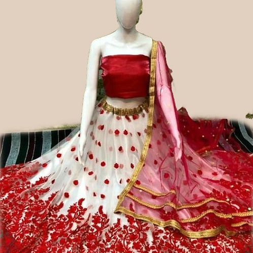 PB Banita Fashionable Women Lehenga Red & White