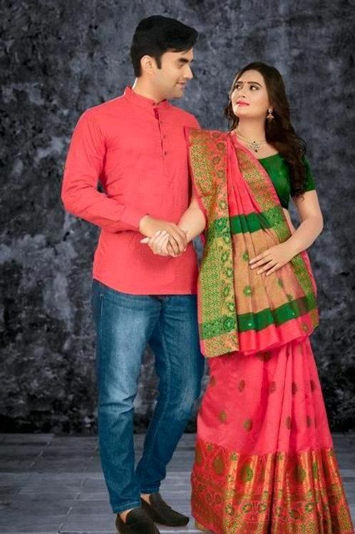 PB Kashvi Fancy Men's Kurta & Sarees Combo 02