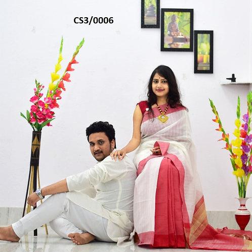 Plain Pure cotton kurta With Cotton Saree white and red